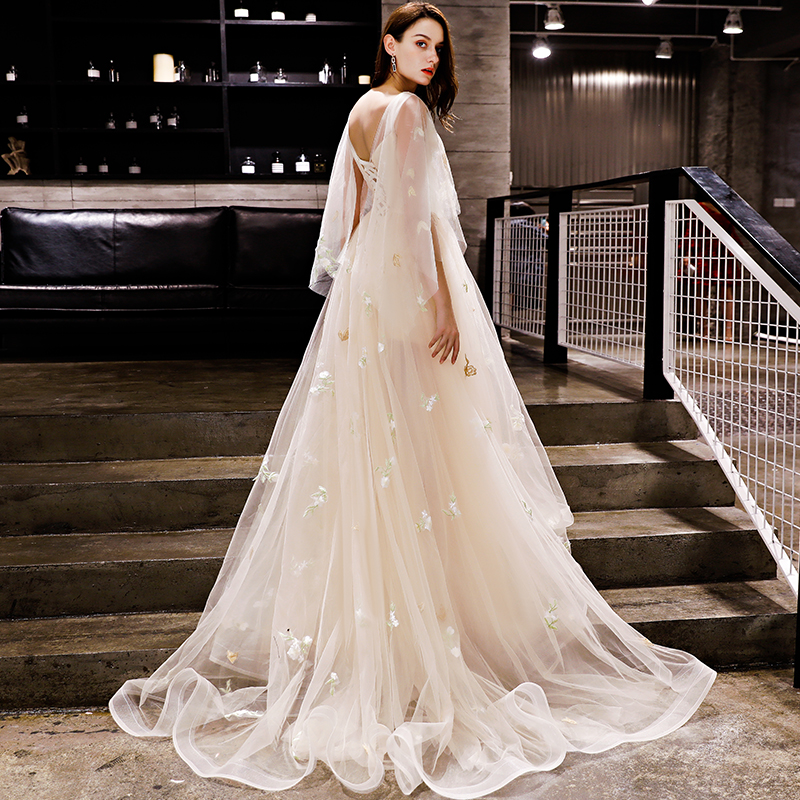 Image 2 - Walk Beside You Champagne Evening Dresses Romantic 3/4 Sleeves  Cap Sleeves Boat Neck Tulle Sweep Train 2020 Long Prom Gown  StockEvening Dresses