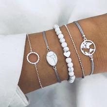 Женские богемные браслеты с белыми бусинами diezi Набор браслетов