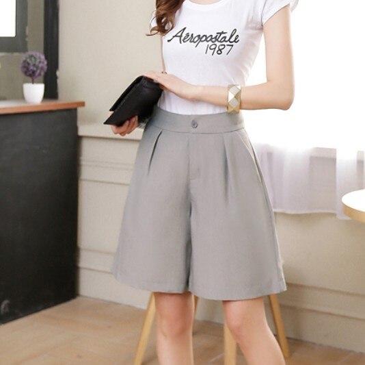 2016 New high waist shorts Women Short Wide Leg skirt shorts Woman pantalones shorts feminino S,M,L Black,Grey,Army Green,Brown