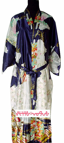 Fashion Navy Blue Ladies Silk Rayon Kimono Robe Gown Flower S M L XL XXL XXXL Free Shipping S0015