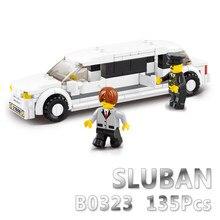 Sluban modelo de construção compatível b0323 135 pçs modelo kits de construção clássicos brinquedos hobbies luxo limousine