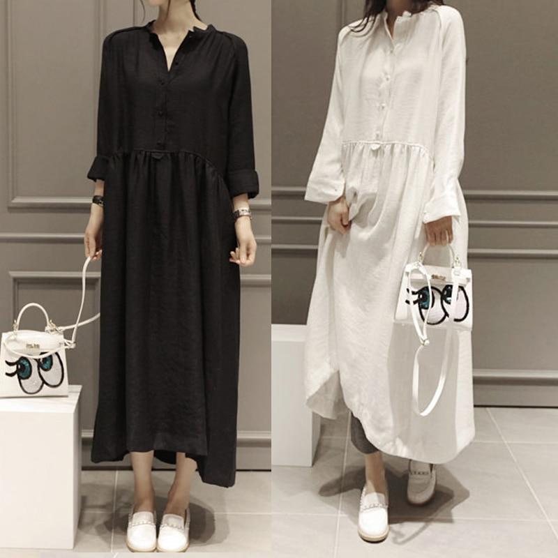 3c62a5fa03 SCUWLINEN 2018 Spring Autumn Fairy Linen Dress Plus Size Long Sleeve Women  Dress High Low Hem Maxi Party Dress White Dress S09