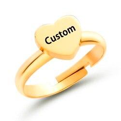 Nowe mody grawerowanie ze stali nierdzewnej nazwa 26 liter serca pierścienie regulowany spersonalizowany pierścień dla kobiet biżuteria dziewczęca prezenty