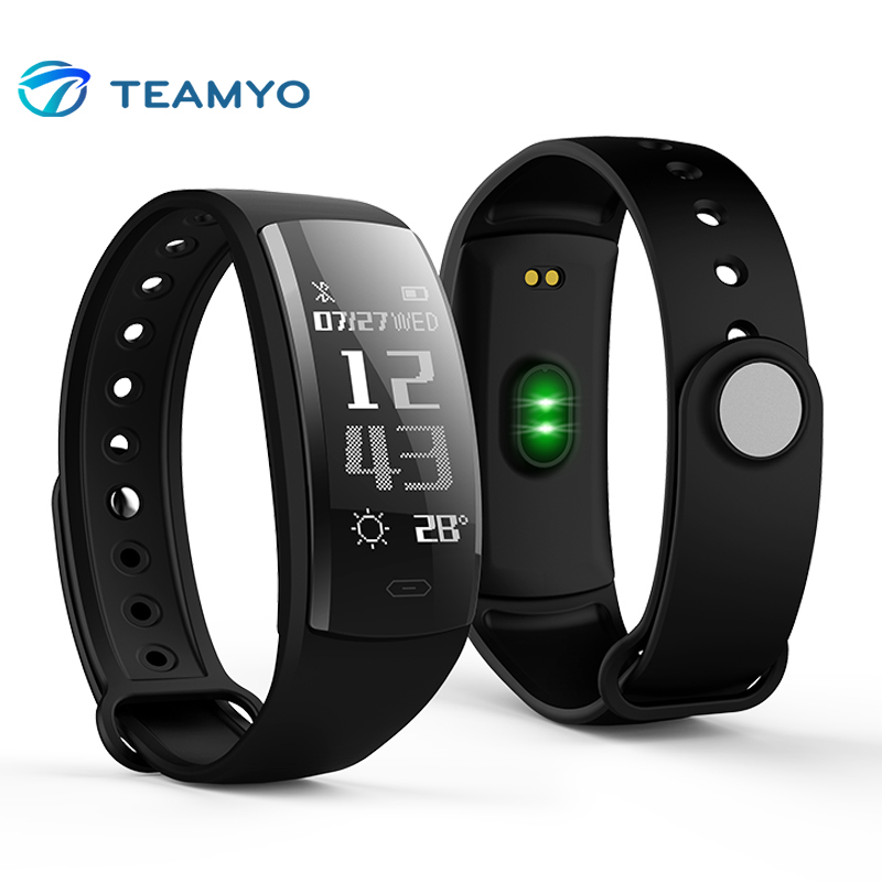 Teamyo QS90 Smart Fitness Bracelet Blood Pressure Watches Heart Rate Monitors Activity Tracker Smart Wristband For Android IOS