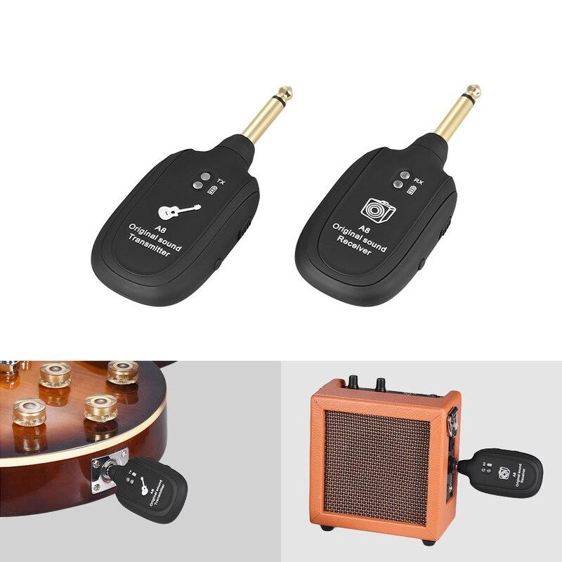 1 pièces UHF sans fil guitare émetteur récepteur système intégré batterie Rechargeable gamme de Transmission pour guitare électrique basse