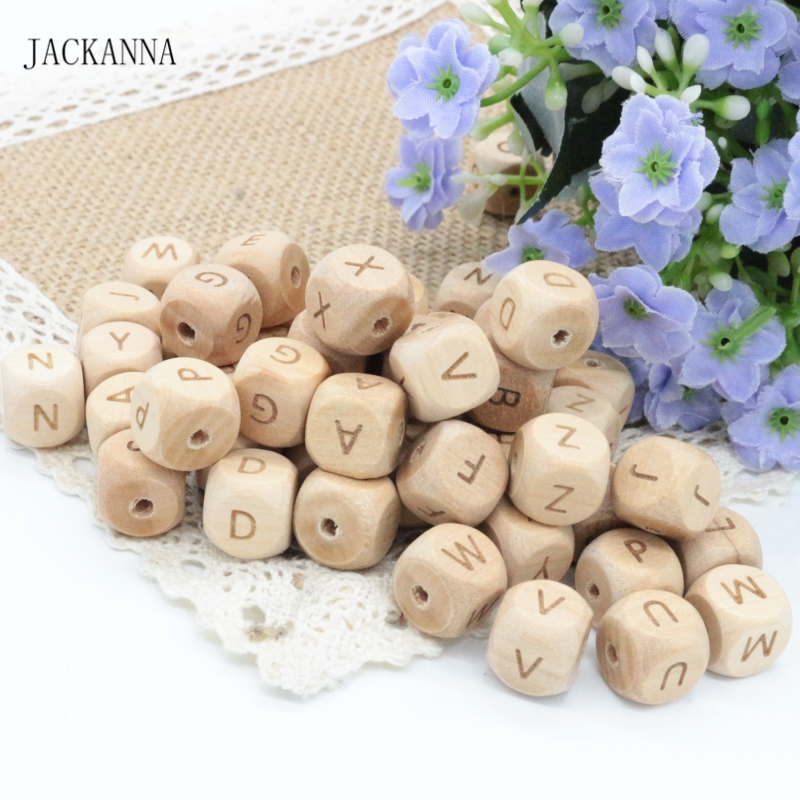 Square Shape 12mm Engrave Beech Wood Teether Alphabet Beads Teething Jewelry DIY Crafts Chew Wooden Teether Letter Beads 100PCS