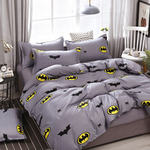 A5 High Quality Bedding Set Bat-man Pattern Bed Linings Duvet Cover Bed Sheet Pillowcases Cover Set For 1.2/1.5/1.8/2/2.2m Bed(China)