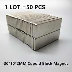 Free Shipping 50pcs Strong Rare Earth  Neodymium Magnets 30 x 10 x 2 mm