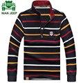 Jeep nian brand clothing gira el collar abajo camisetas de algodón de manga larga a rayas de los hombres más tamaño 3xl 76