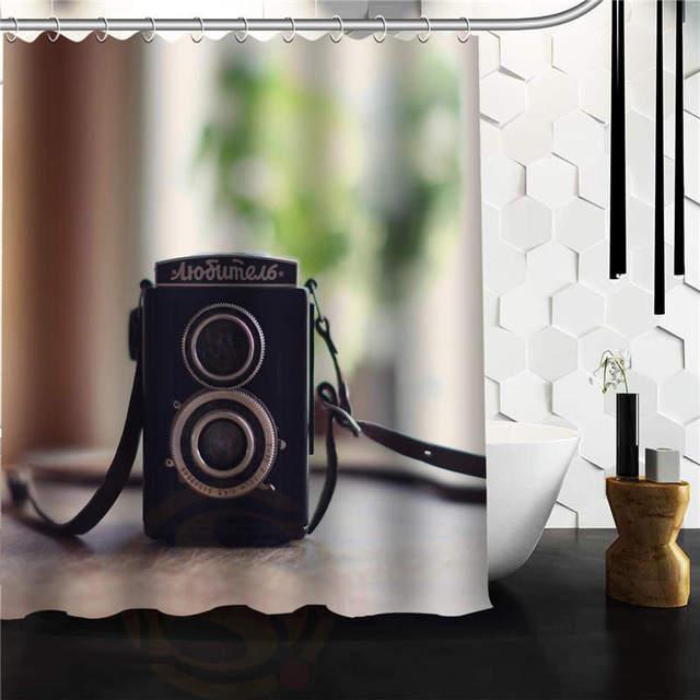 High Quality Mouldproof Bath Curtains Print DIY Theme Camera Photo Shower Curtain Waterproof Bathroom 60