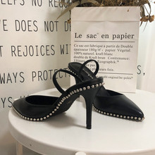 Free shipping fashion women Pumps Black leather studded spikes point toe slingback high heels party shoes bride wedding shoes 2016 fashion italian style rhinestone pumps shoes beautiful african shoes women for wedding free shipping black colors