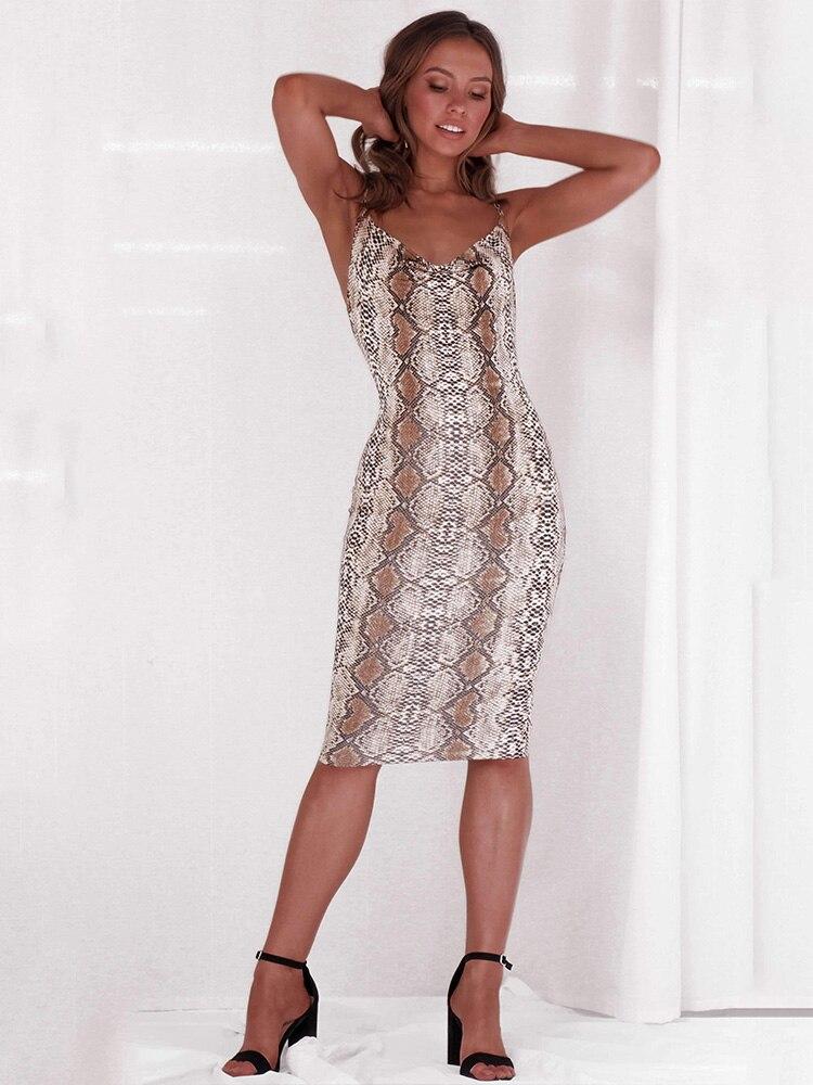 7621eaa8507 JYSS женское сексуальное змеиное платье с узором на бретельках длиной до  колена 2019 Новое модное тонкое