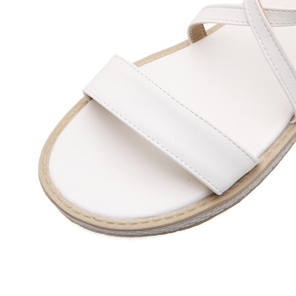 D'été noir rose Memunia Style Sandales Grande 43 Rose Nouveau Doux Casual Taille Boucle blanc Dames 2018 Chaussures Ciel pu Simple 33 Beige Mode Plat FF4qxB0H