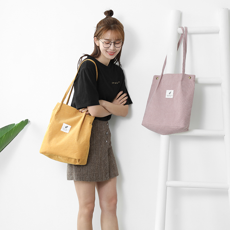 d35f1966f3c9 US $7.09 41% OFF 2019 Casual Women Mori style Large Capacity Tote Canvas  Shoulder Bag Shopping Bag corduroy Bags Casual Tote Feminina-in Shoulder  Bags ...