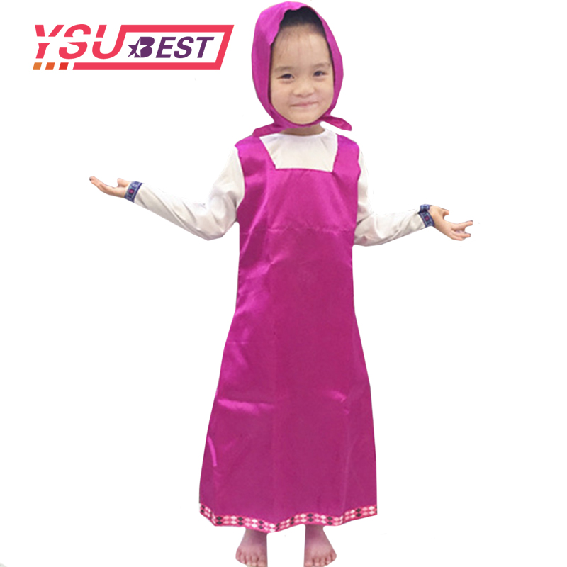 2018 Girls Masha and Bear Clothing Costume For Kids Masha Cosplay Party Decoration 3-8 Year Childrens Fancy Dress anime Clothes