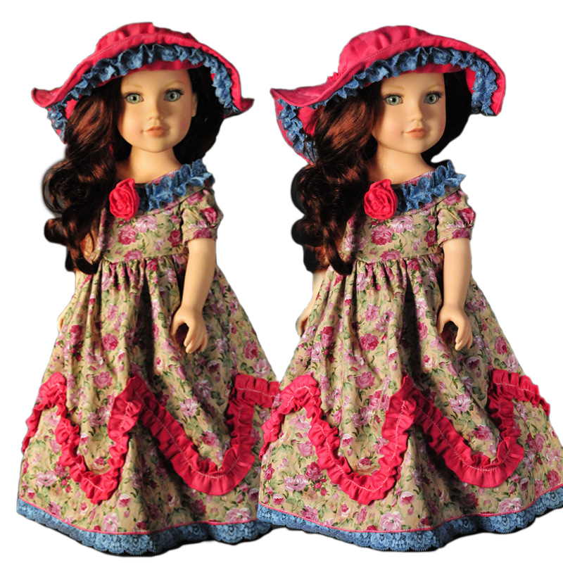 BDCOLE Handmade 18 inches American Girl Doll Clothes Great Quality Fussy Design Retro Floral Patterns Dress come with hat lifelike american 18 inches girl doll prices toy for children vinyl princess doll toys girl newest design