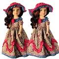 BDCOLE Hecho A Mano 18 pulgadas Muñeca American Girl Ropa de Gran Calidad Exigente Diseño Estampados de Flores Retro Vestido viene con sombrero