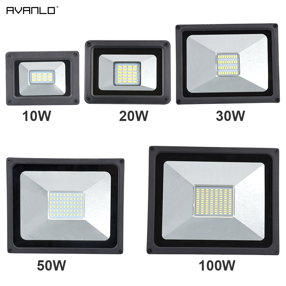 Avanlo 220V LED FloodLight 10W 30W 50W 100W Reflector LED Flood Light Waterproof IP65