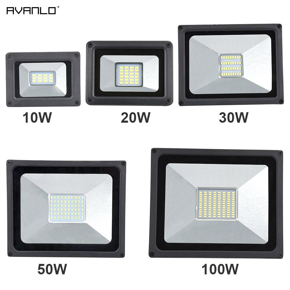 220V LED Reflector 10W 30W 50W 100W Reflector LED Luz de inundación impermeable IP65 de pared del proyector iluminación Exterior blanco frío cálido