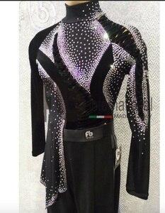 Image 1 - Camiseta de salón de baile latino para hombre, ropa para fiesta, Tango, Jazz moderno, Tops de tela de terciopelo