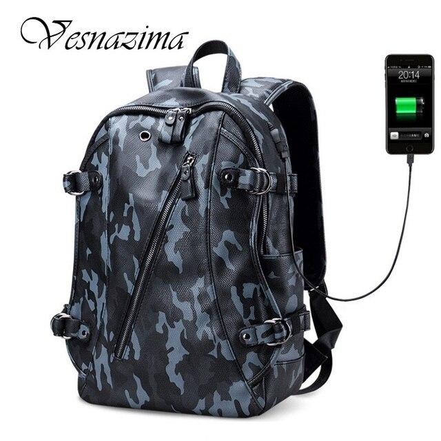 VZ laptop backpack school bags boys waterproof pu leather men s backpacks  travel bag back rugzak airphone bag mochilas blue c040f34c1f104