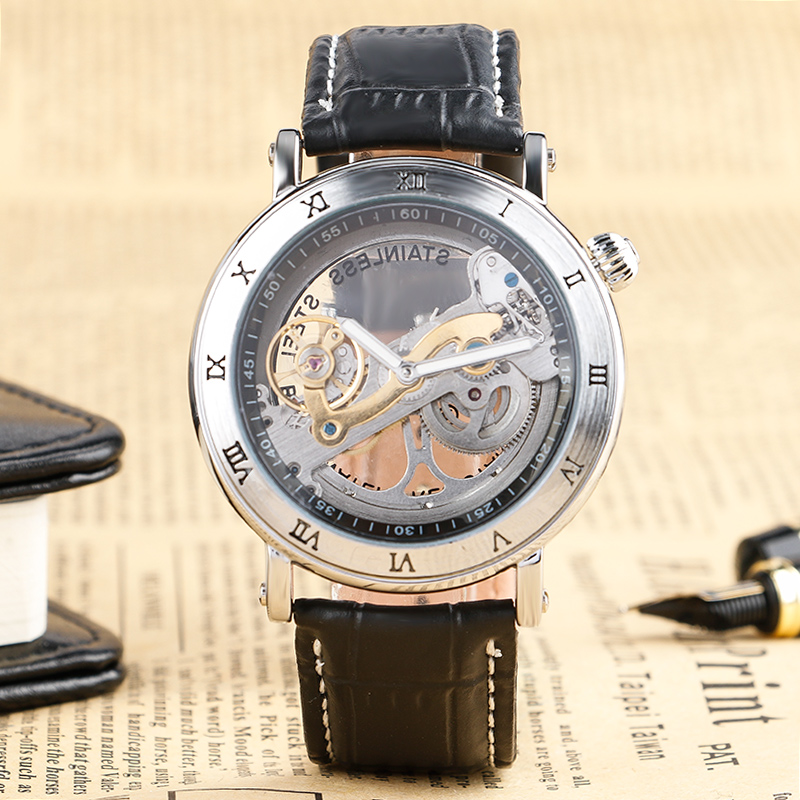 Modern Black Hollow Dial Men Mechanical Wristwatc Genuine Leather Band Automatic Self-Wind Round Fashion Male Clock Best Gift yisuya casual fashion men self wind mechanical watch skeleton dial design brown leather band cool sport male watch best gift