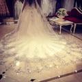 Luxo Bling Bling catedral véus de noiva com apliques de cristal acessórios do casamento com pente véu de alta qualidade