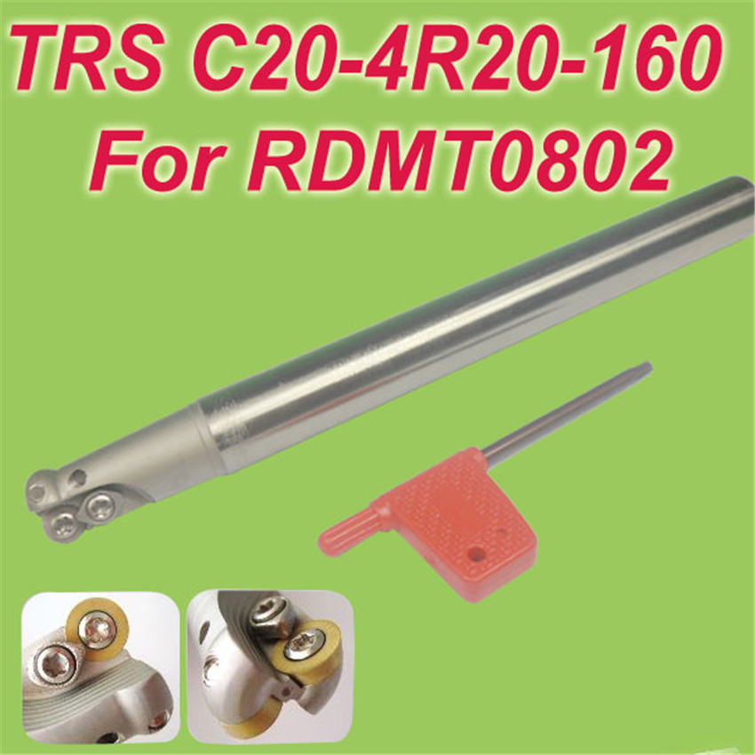 TRS SHK 20MM,L:160mm  Indexable Shoulder End Mill Arbor Cutting Tools for RDMT0802 Free Shiping trs shk 12mm cutting end dia 13mm l 120mm indexable shoulder end mill arbor cutting tools for rdmt0802 free shiping