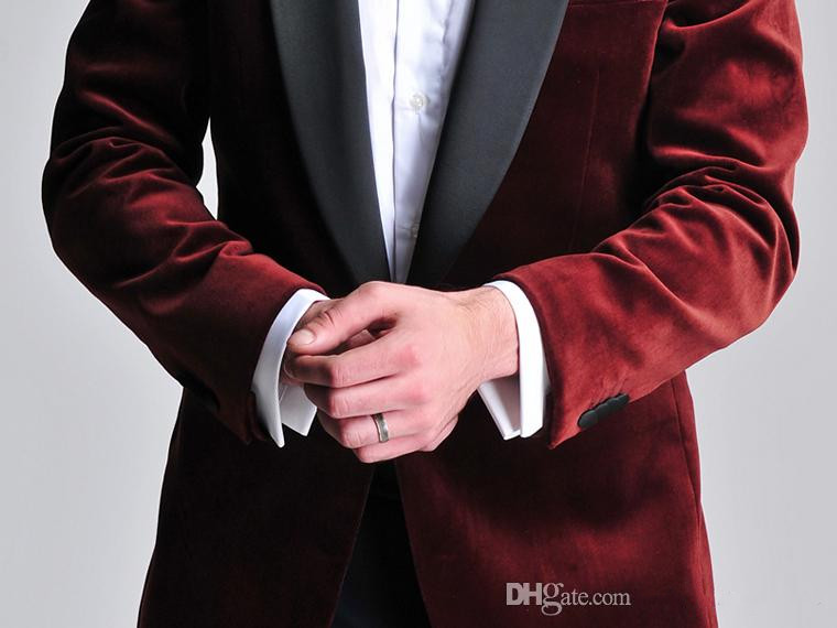 Online Shop Burgundy Velvet Slim Fit Groom Tuxedos Wedding Suits ...