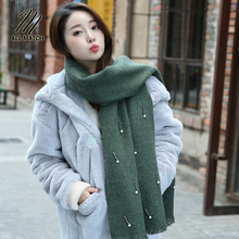 Фотография Fashion women autumn cashmere scarf female hand beaded shawl and Pearl warm scarf solid lady  Scarves