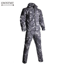 Military TAD V5.0 Camouflage Shark Skin Soft Shell Tactical Suits Winter Outdoor Waterproof Fleece Combat Men Jacket+pants 4XL(China)