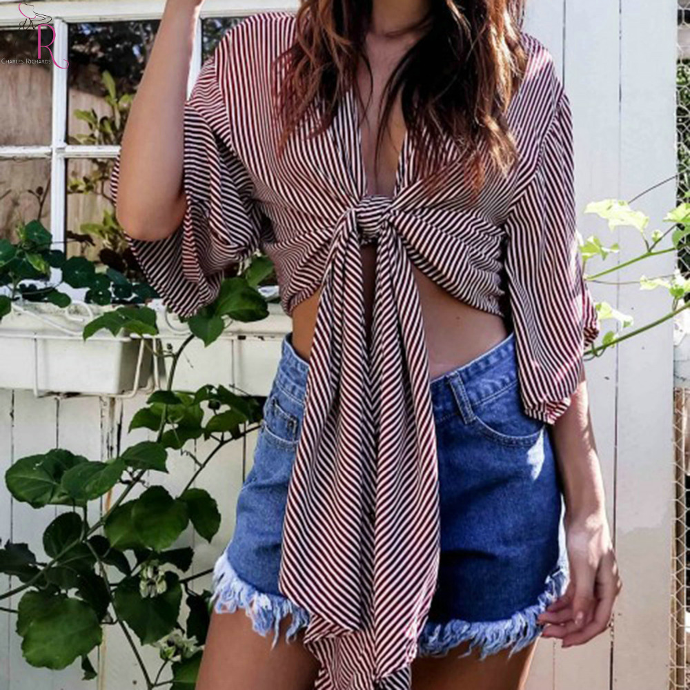 39432436c5407 Women Stripe Crop Top Plunge Deep V Neck Wide Half Sleeve Tie Front 2 Colors  Summer High Street Short Top-in Blouses   Shirts from Women s Clothing on  ...