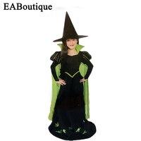 2016 new chất lượng cao halloween trang phục cho trẻ em cô gái Xanh trang phục phù thủy bộ cô gái halloween trang phục bao gồm mũ và trang phục