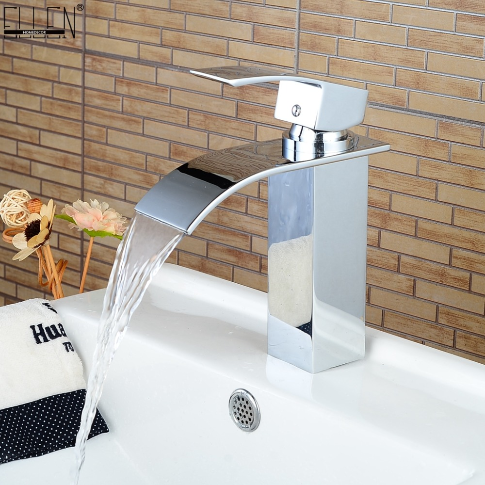 Waterfall Faucet In The Bathroom For Basin Sink Brass Mixer Tap Modern Bathroom Faucet In Basin