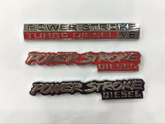 2 peças de metal 3D Power stroke emblema Adesivo Curso De Potência Turbo Diesel V8 Stacks 2500-car styling para carros EUA F ** F150 F250