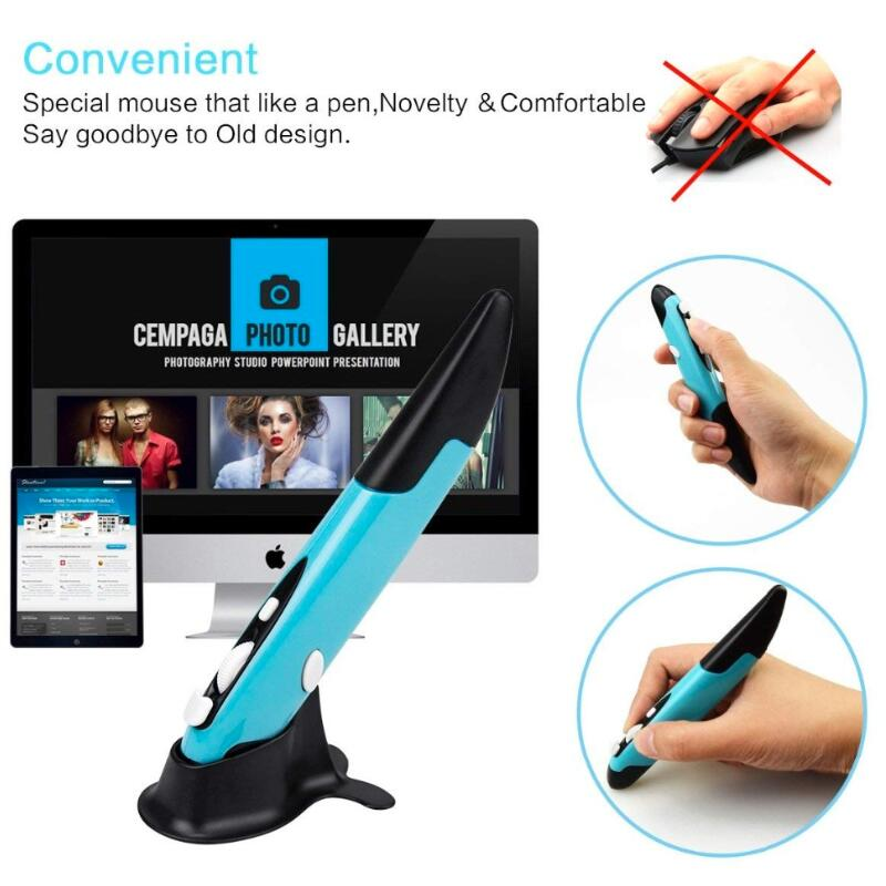 Commercio all'ingrosso Mini 2.4 ghz Wireless USB Pen Optical Air Mouse Rosso Regolabile 500/1000 dpi per Computer Portatili e desktop 3 di Colore