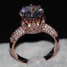 Роскошные Ювелирные Изделия 8ct Пасьянс Люкс 925 Серебряных 11 мм большой ААА CZ Имитация камней Обручальное кольцо из Розового золота Корона Женщины Кольцо Size5-11