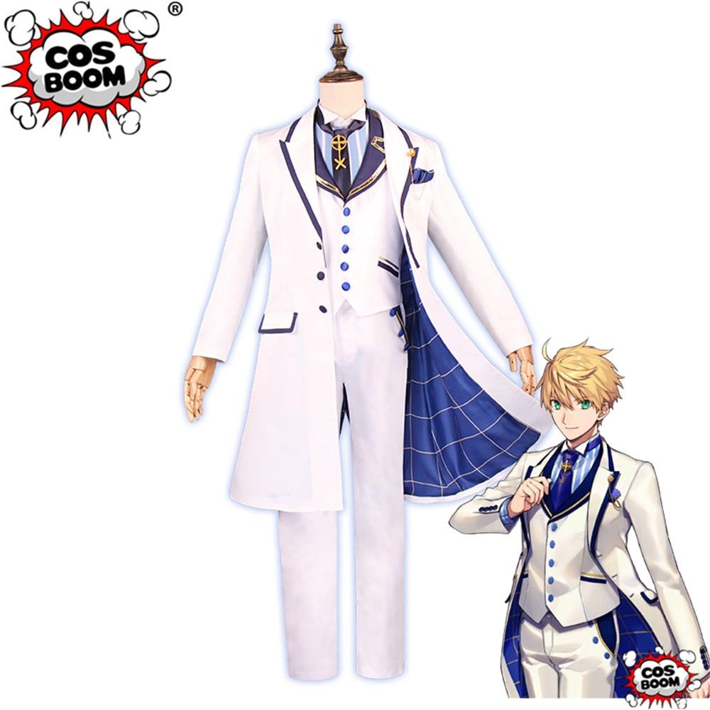 COSBOOM Fate Grand Order Cosplay FGO Arthur Costume Fate Prototype Proto Saber White Rose Game Cosplay Costume
