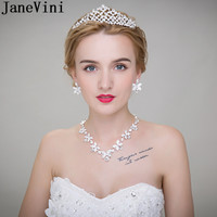 JaneVini Fashion Bride Crystal Necklace Crown Set Shiny Crystal 3 Pieces Women Princess Tiara Engagement Party Necklaces Jewelry