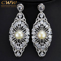 CWW Brand Long Vintage Design Big Natural Freshwater Pearl Zircon Earrings Wedding Party Jewelry For Women CZ152