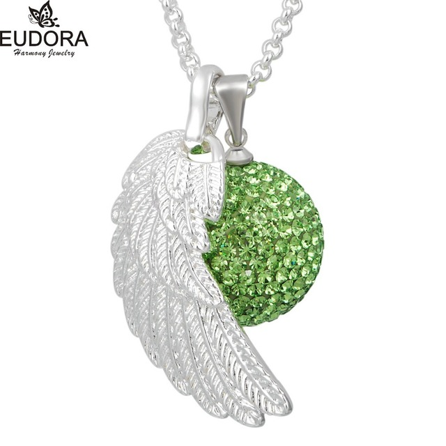 Angel Caller Wing Ball Pendant Crystal Harmony Bola Silvery Stainless Steel Angel Caller Necklace Jewelry FHB08