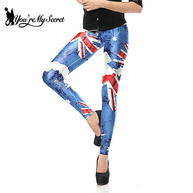 [You're My Secret] Women   Leggings   For Joggers High waist Elastic Slim Fitness Leggins Pants National Flag Printed Slim Legins