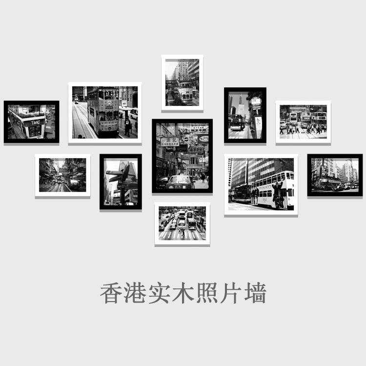 Hong Kong madera vieja pintura decorativa nostálgico blanco y negro ...