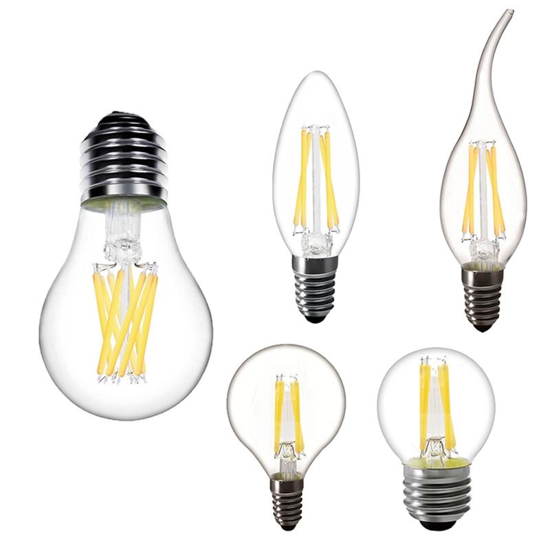 LED Candle Filament Bulb E14 220V 230V LED Light Edison Lamp E14 Bulb E27 Led Lamp 220V Filament Light Glass Bulb Lamp