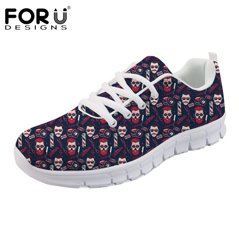 FORUDESIGNS New Fashion Cartoon Hairdresser Printed Cute Women Flats Shoes Sneakers Woman Comfortable Mesh Shoes for Ladies 2018 instantarts cute women flat shoes puppies samoyed flower printed teen girls spring mesh flats shoes fashion comfortable sneakers