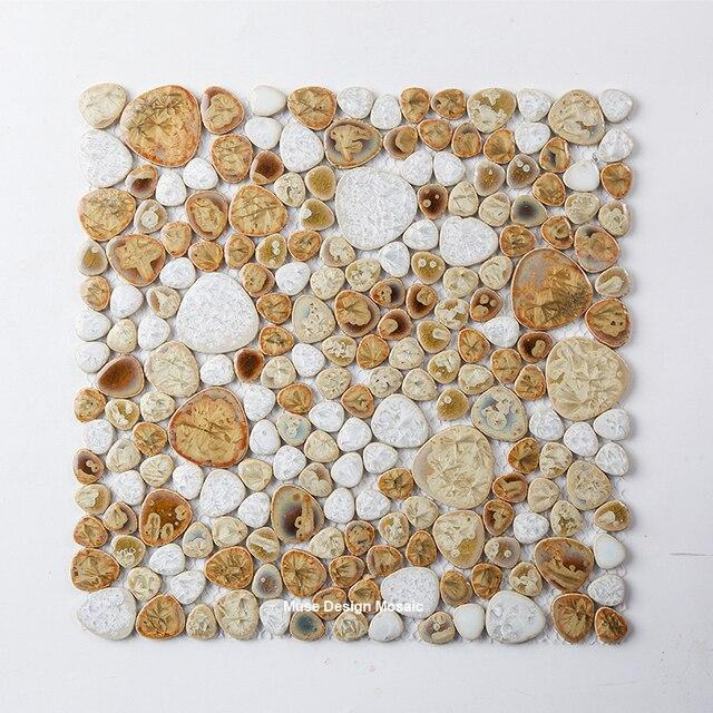White Beige Glazed Pebble Ceramic Mosaic Tile, Kitchen Backsplash Shower Swimming  Pool Wall Tile,