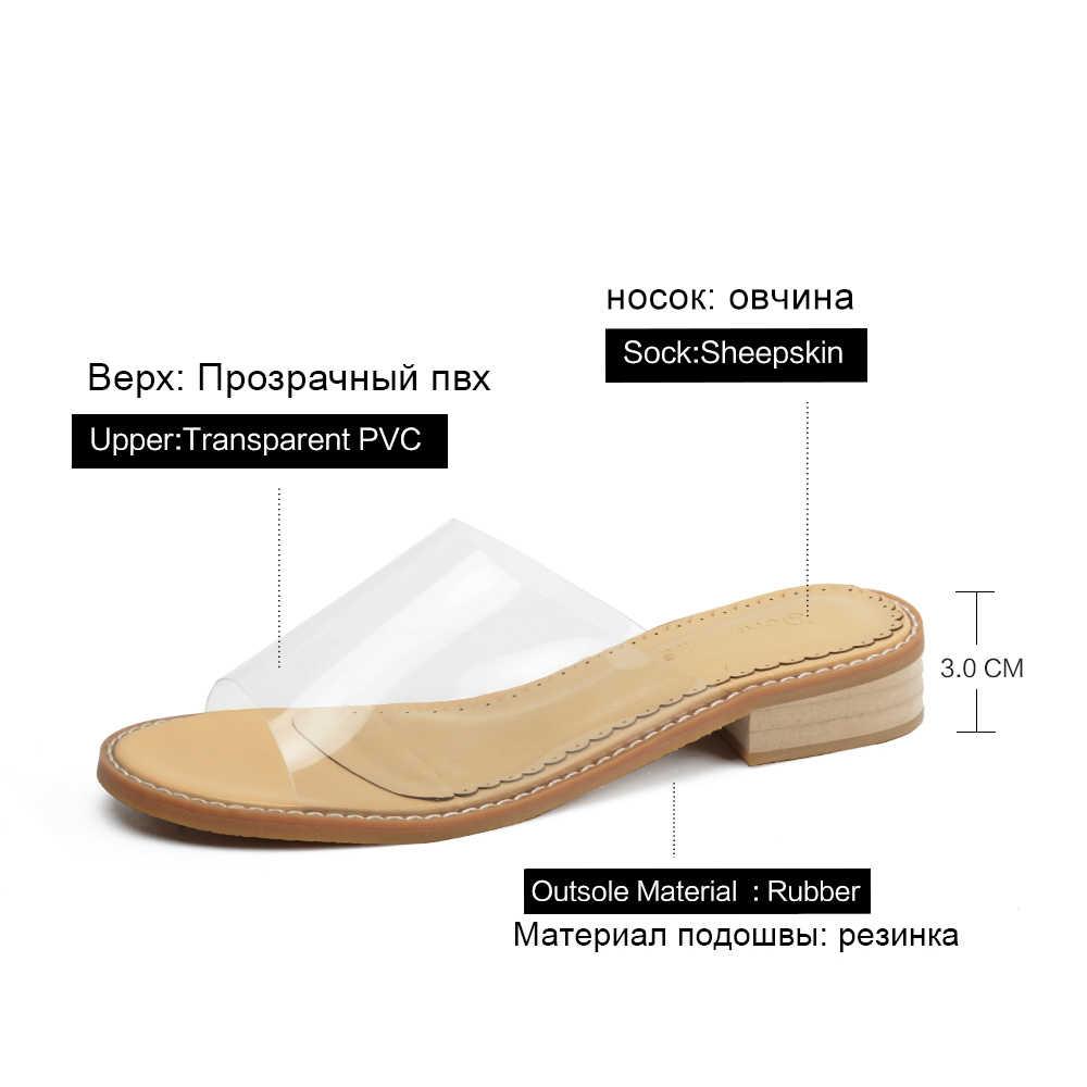 Donna-PVC โปร่งใสรองเท้าแตะล้างรองเท้าส้นคริสตัลรองเท้าแตะรองเท้าแตะสไลด์ชายหาดสบายผู้หญิง Jelly 2019 ฤดูร้อน