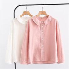 e0d75c9ff Rosa Blanco 2018 niñas otoño primavera japonés estilo fresco lindo de manga  larga collar de peter pan sólida blusa PZ1056