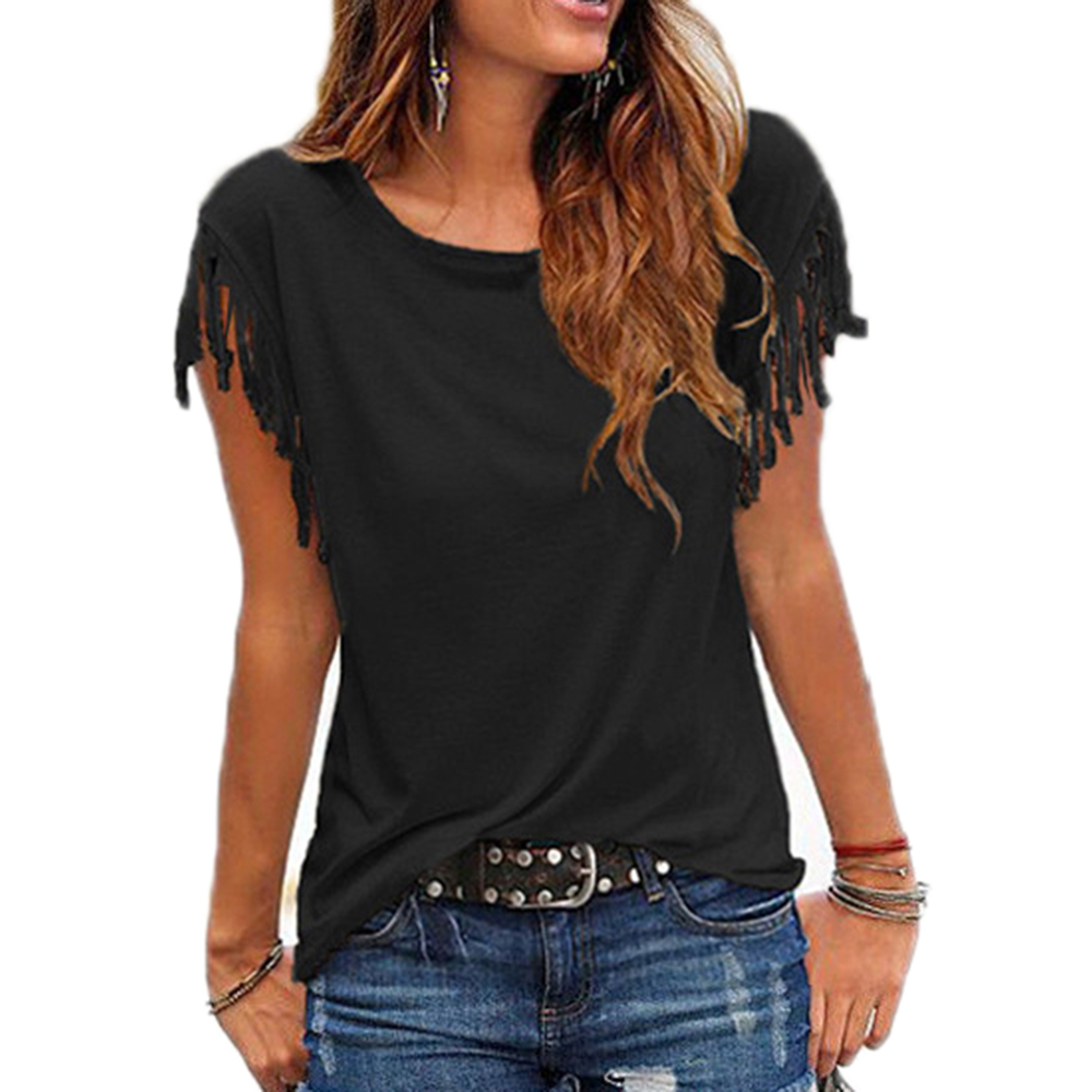 Women-Cotton-Tassel-Casual-Blouses-Short-sleeved-Solid-Color-Shirts-Top-Short-Sleeve-O-neck-Women (2)