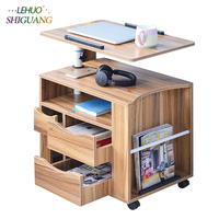 Nightstands Laptop table Wooden standing office desk With drawer computer desk Rotatable folding table bedroom Bedside cabinet